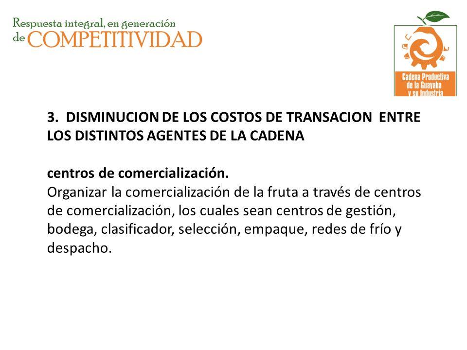 3. DISMINUCION DE LOS COSTOS DE TRANSACION ENTRE LOS DISTINTOS AGENTES DE LA CADENA centros de comercialización. Organizar la comercialización de la f