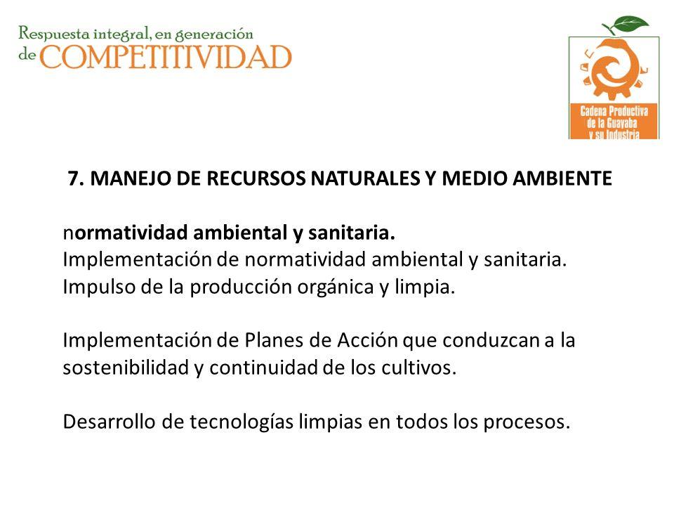 7. MANEJO DE RECURSOS NATURALES Y MEDIO AMBIENTE normatividad ambiental y sanitaria. Implementación de normatividad ambiental y sanitaria. Impulso de