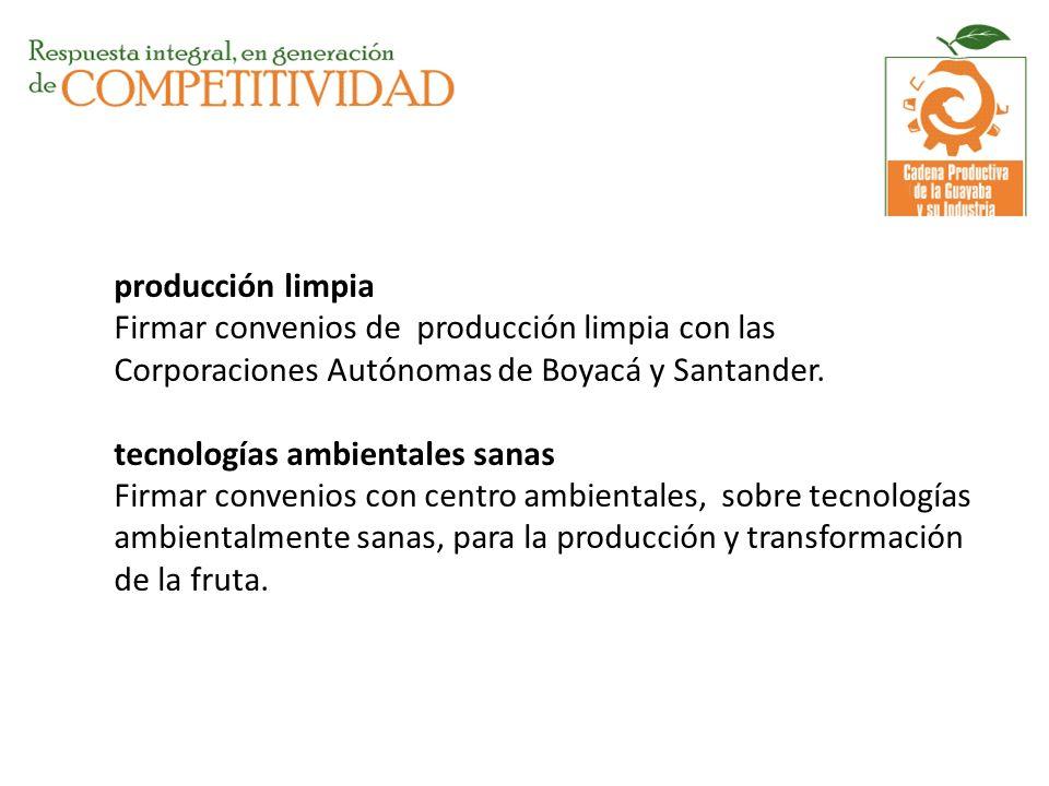 producción limpia Firmar convenios de producción limpia con las Corporaciones Autónomas de Boyacá y Santander. tecnologías ambientales sanas Firmar co