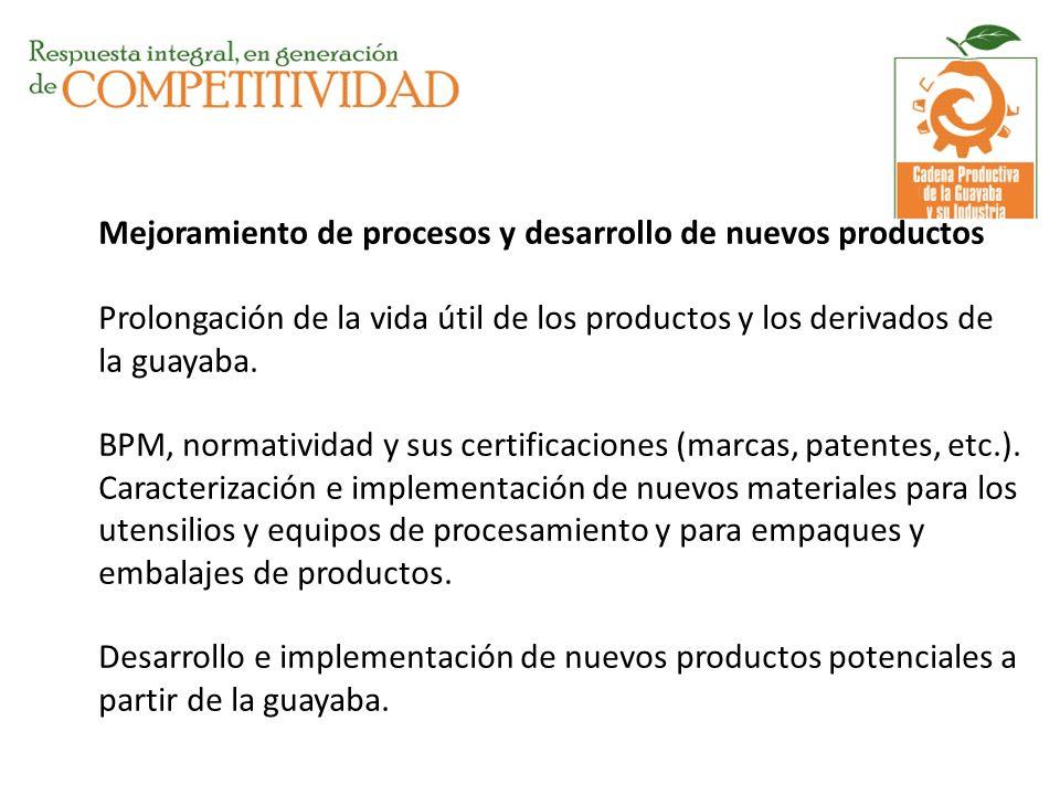 Mejoramiento de procesos y desarrollo de nuevos productos Prolongación de la vida útil de los productos y los derivados de la guayaba. BPM, normativid