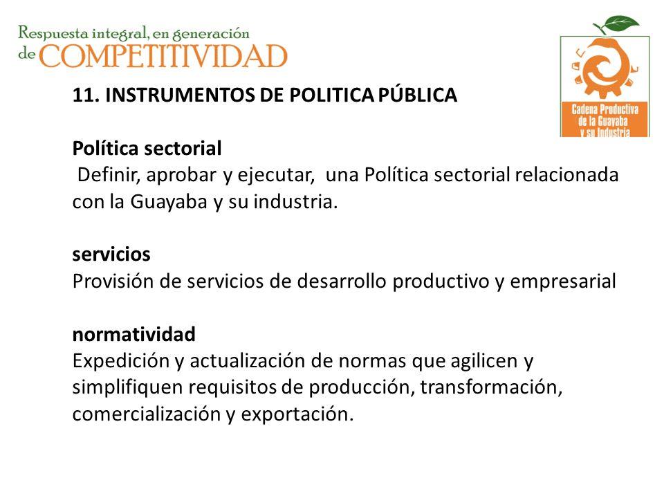 11. INSTRUMENTOS DE POLITICA PÚBLICA Política sectorial Definir, aprobar y ejecutar, una Política sectorial relacionada con la Guayaba y su industria.