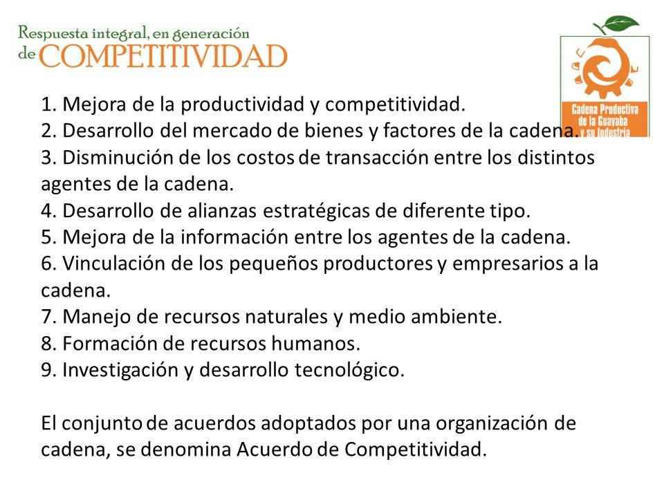 1. Mejora de la productividad y competitividad. 2. Desarrollo del mercado de bienes y factores de la cadena. 3. Disminución de los costos de transacci