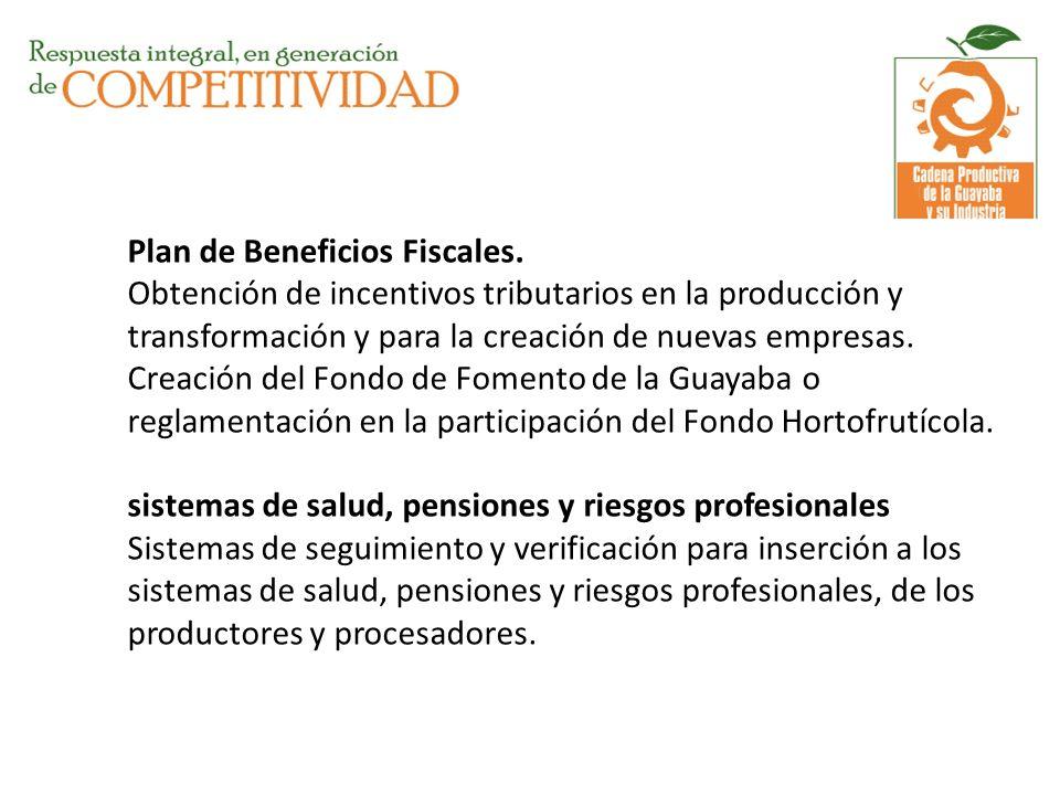 Plan de Beneficios Fiscales. Obtención de incentivos tributarios en la producción y transformación y para la creación de nuevas empresas. Creación del