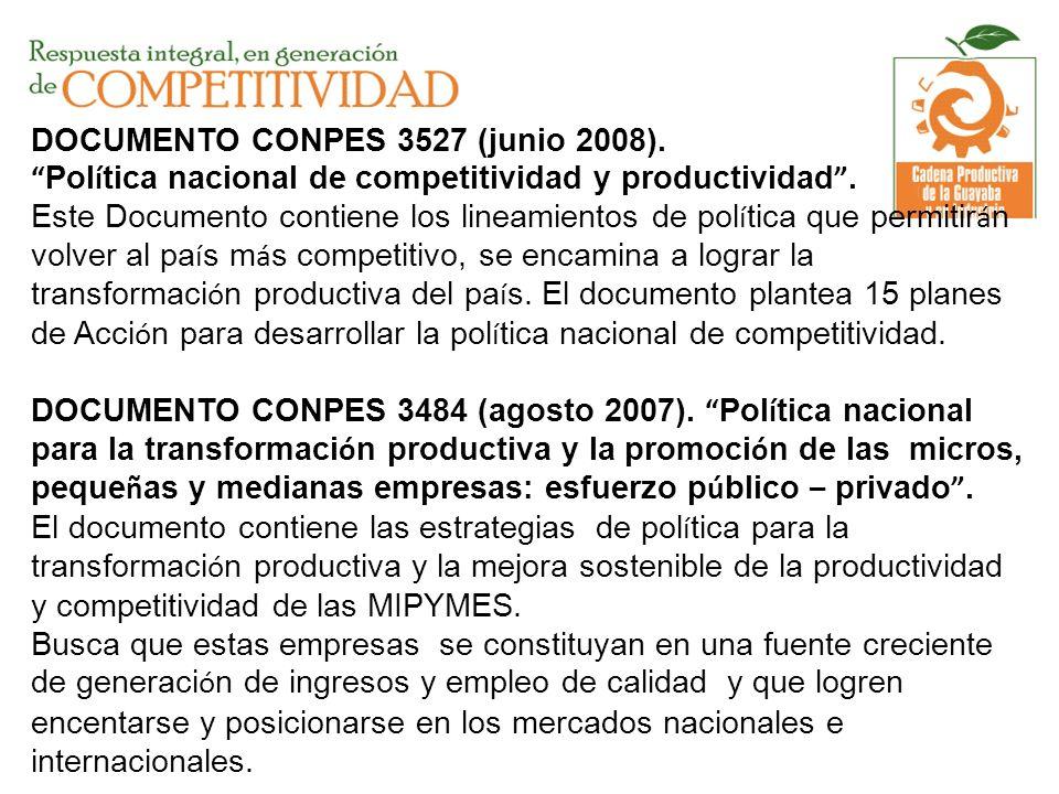 DOCUMENTO CONPES 3527 (junio 2008). Pol í tica nacional de competitividad y productividad. Este Documento contiene los lineamientos de pol í tica que