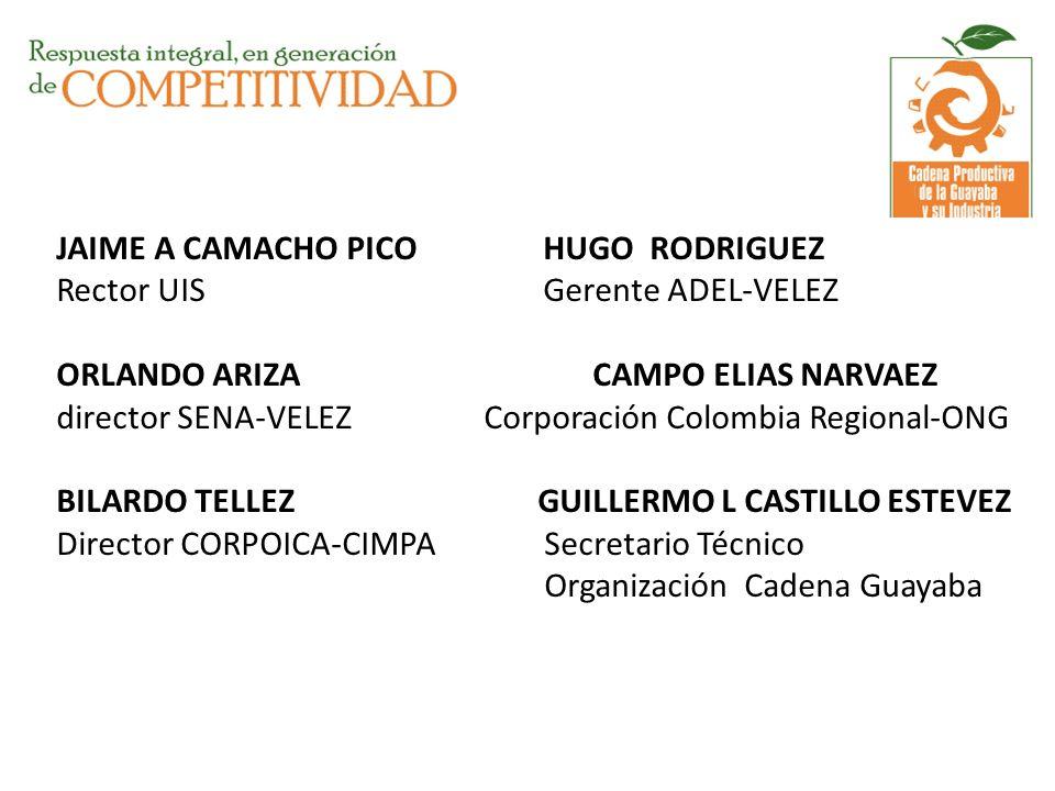JAIME A CAMACHO PICO HUGO RODRIGUEZ Rector UIS Gerente ADEL-VELEZ ORLANDO ARIZA CAMPO ELIAS NARVAEZ director SENA-VELEZ Corporación Colombia Regional-