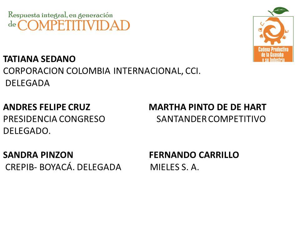 TATIANA SEDANO CORPORACION COLOMBIA INTERNACIONAL, CCI. DELEGADA ANDRES FELIPE CRUZ MARTHA PINTO DE DE HART PRESIDENCIA CONGRESO SANTANDER COMPETITIVO