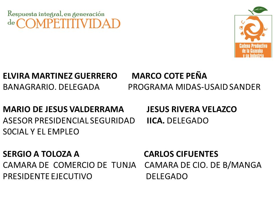 ELVIRA MARTINEZ GUERRERO MARCO COTE PEÑA BANAGRARIO. DELEGADA PROGRAMA MIDAS-USAID SANDER MARIO DE JESUS VALDERRAMA JESUS RIVERA VELAZCO ASESOR PRESID