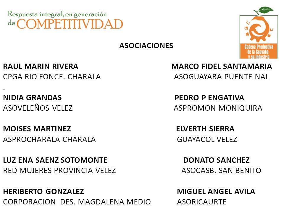 ASOCIACIONES RAUL MARIN RIVERA MARCO FIDEL SANTAMARIA CPGA RIO FONCE. CHARALA ASOGUAYABA PUENTE NAL. NIDIA GRANDAS PEDRO P ENGATIVA ASOVELEÑOS VELEZ A