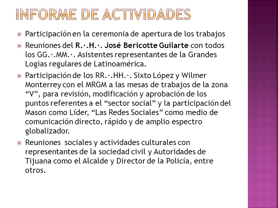 Participación en la ceremonia de apertura de los trabajos Reuniones del R.·.H.·. José Bericotte Guilarte con todos los GG.·.MM.·. Asistentes represent