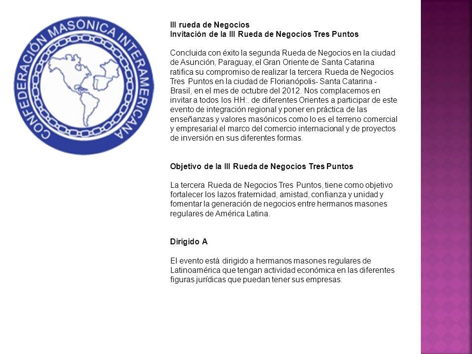 III rueda de Negocios Invitación de la III Rueda de Negocios Tres Puntos Concluida con éxito la segunda Rueda de Negocios en la ciudad de Asunción, Pa
