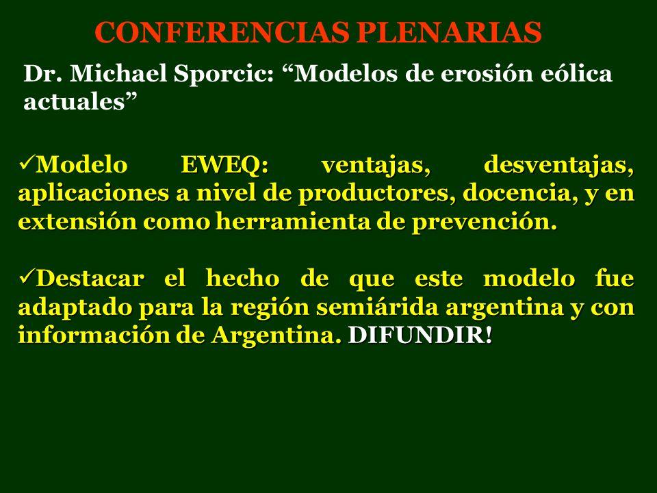 CONFERENCIAS PLENARIAS EWEQ: ventajas, desventajas, aplicaciones a nivel de productores, docencia, y en extensión como herramienta de prevención. Mode