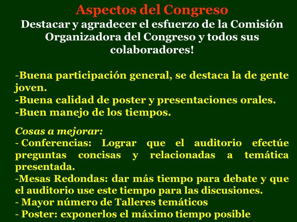 Aspectos del Congreso Destacar y agradecer el esfuerzo de la Comisión Organizadora del Congreso y todos sus colaboradores! -Buena participación genera