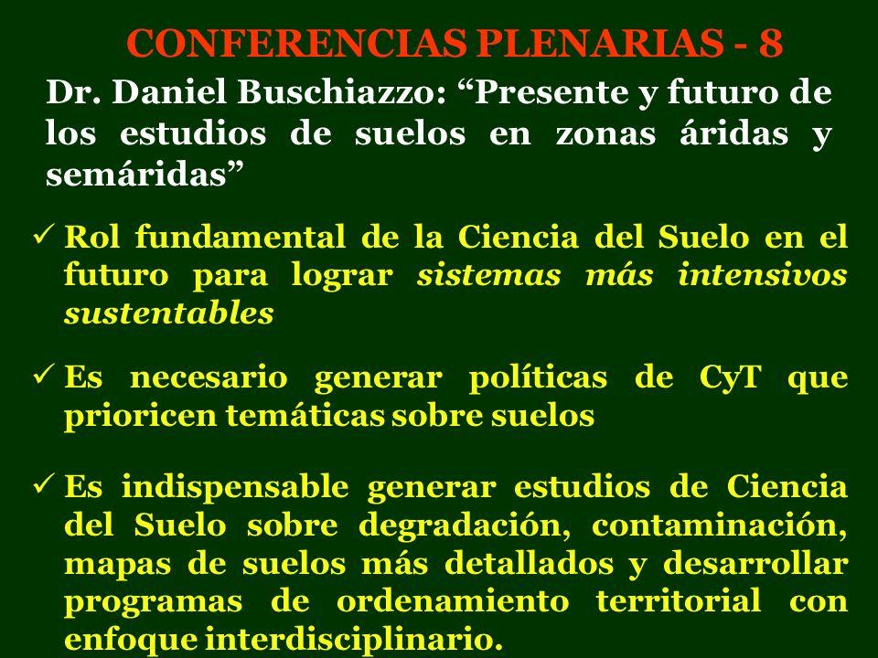 CONFERENCIAS PLENARIAS - 8 Dr. Daniel Buschiazzo: Presente y futuro de los estudios de suelos en zonas áridas y semáridas Rol fundamental de la Cienci