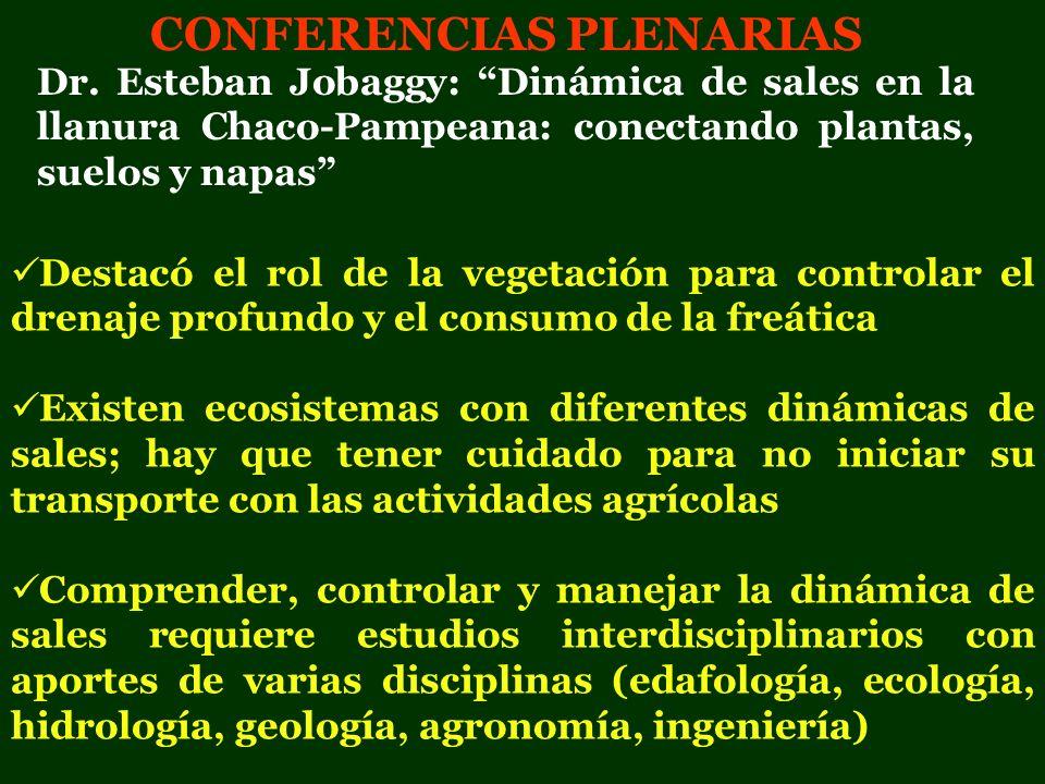 CONFERENCIAS PLENARIAS Destacó el rol de la vegetación para controlar el drenaje profundo y el consumo de la freática Existen ecosistemas con diferent