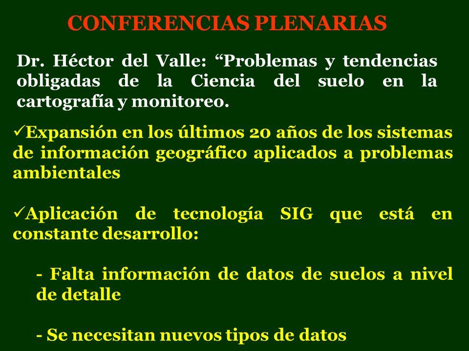 CONFERENCIAS PLENARIAS Expansión en los últimos 20 años de los sistemas de información geográfico aplicados a problemas ambientales Aplicación de tecn
