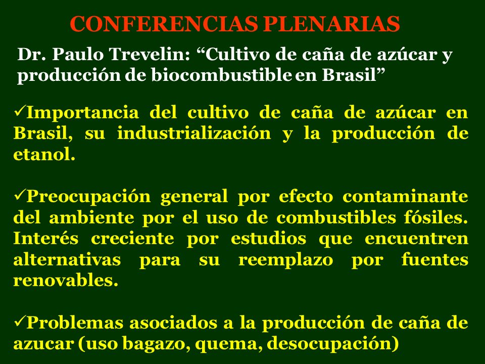 CONFERENCIAS PLENARIAS Importancia del cultivo de caña de azúcar en Brasil, su industrialización y la producción de etanol. Preocupación general por e