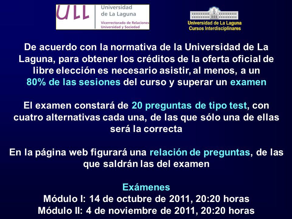 De acuerdo con la normativa de la Universidad de La Laguna, para obtener los créditos de la oferta oficial de libre elección es necesario asistir, al