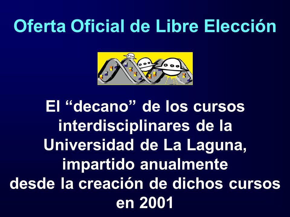 Oferta Oficial de Libre Elección El decano de los cursos interdisciplinares de la Universidad de La Laguna, impartido anualmente desde la creación de dichos cursos en 2001