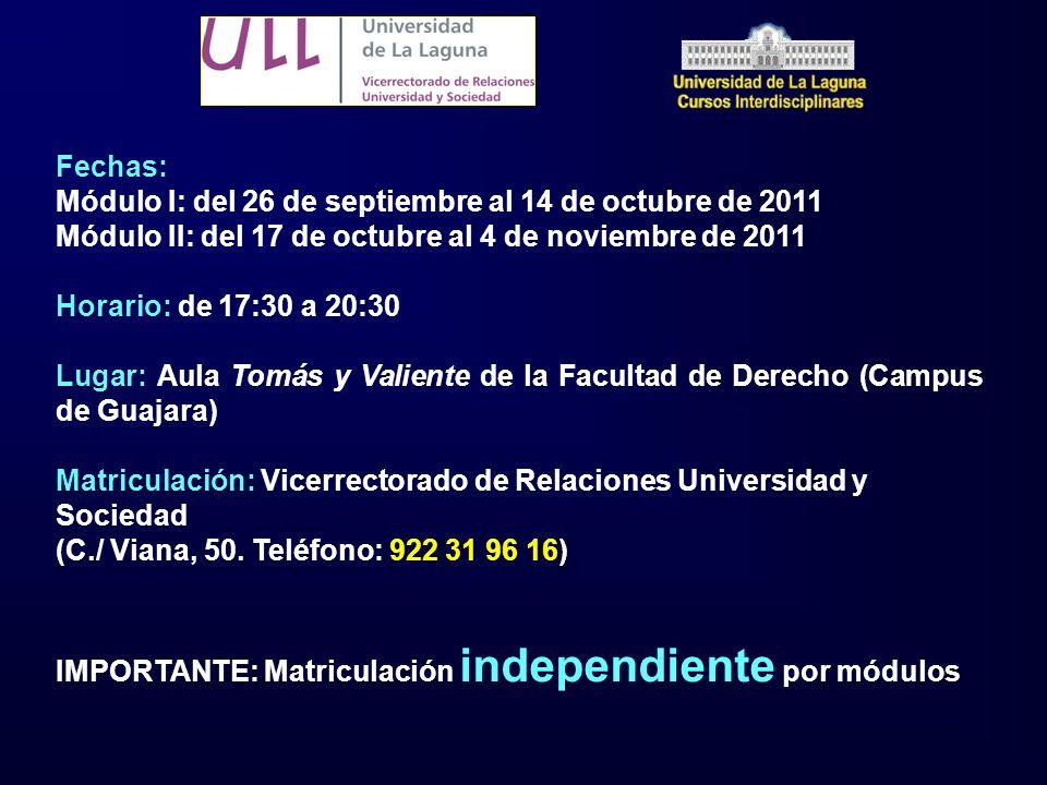 Fechas: Módulo I: del 26 de septiembre al 14 de octubre de 2011 Módulo II: del 17 de octubre al 4 de noviembre de 2011 Horario: de 17:30 a 20:30 Lugar