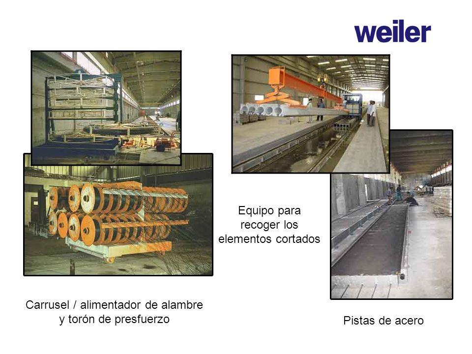 Carrusel / alimentador de alambre y torón de presfuerzo Equipo para recoger los elementos cortados Pistas de acero