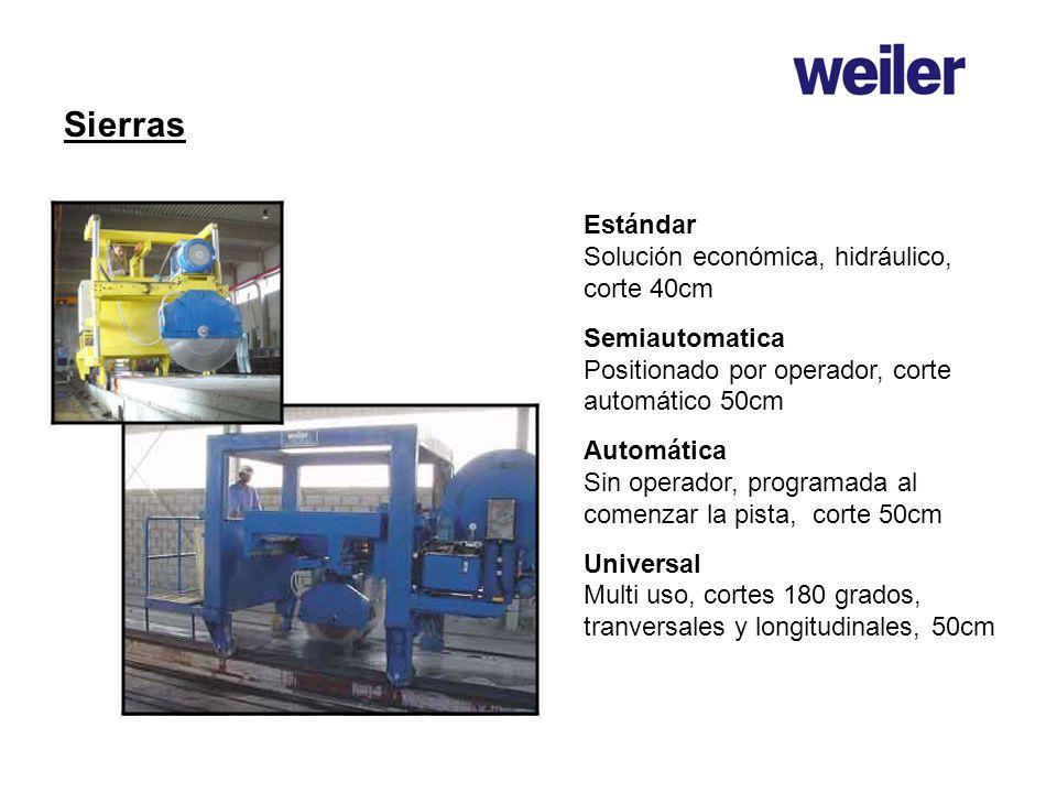 Sierras Estándar Solución económica, hidráulico, corte 40cm Semiautomatica Positionado por operador, corte automático 50cm Automática Sin operador, pr