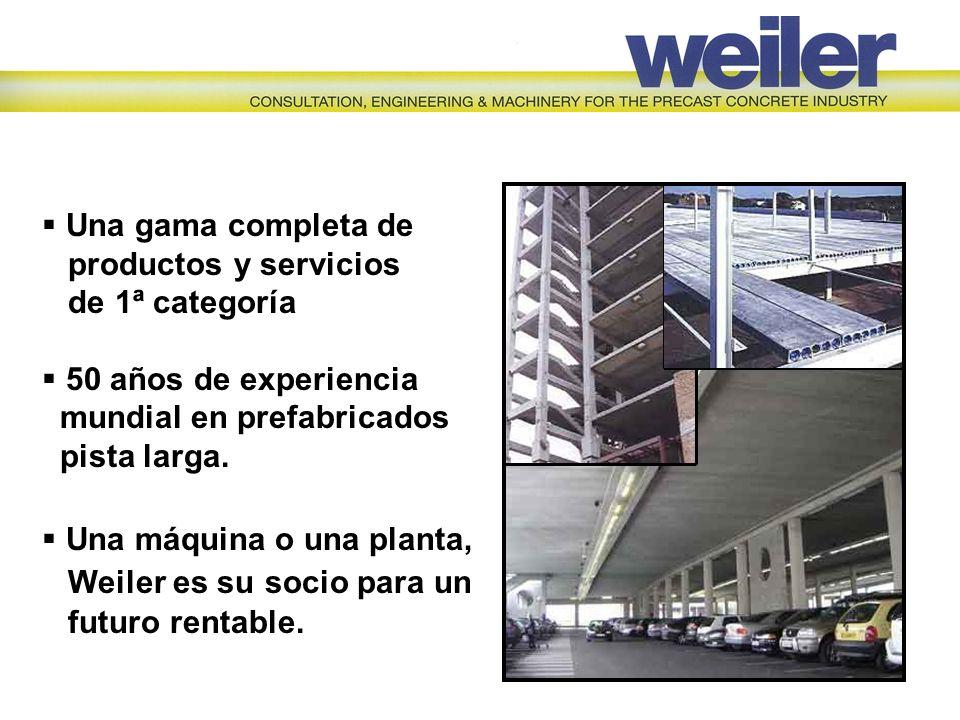 Una gama completa de productos y servicios de 1ª categoría 50 años de experiencia mundial en prefabricados pista larga. Una máquina o una planta, Weil