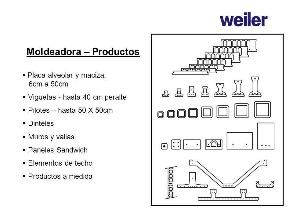 Moldeadora – Productos Placa alveolar y maciza, 6cm a 50cm Viguetas - hasta 40 cm peralte Pilotes – hasta 50 X 50cm Dinteles Muros y vallas Paneles Sa