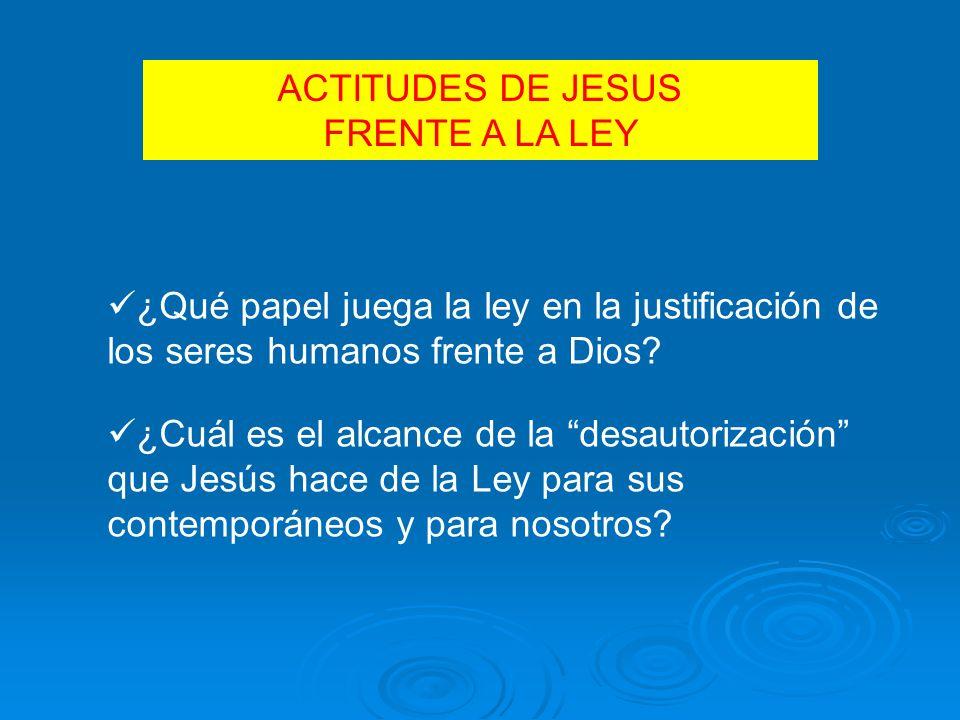 ACTITUDES DE JESUS FRENTE A LA LEY ¿Qué papel juega la ley en la justificación de los seres humanos frente a Dios.