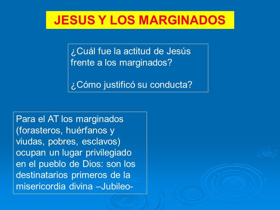 JESUS Y LOS MARGINADOS ¿Cuál fue la actitud de Jesús frente a los marginados.