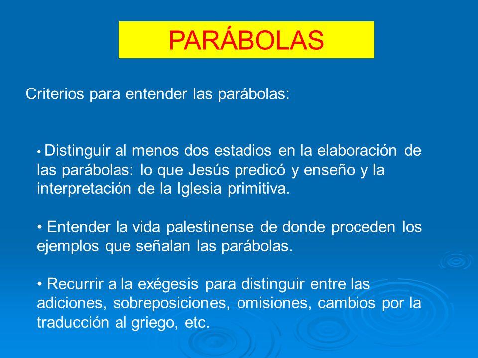PARÁBOLAS Criterios para entender las parábolas: Distinguir al menos dos estadios en la elaboración de las parábolas: lo que Jesús predicó y enseño y la interpretación de la Iglesia primitiva.