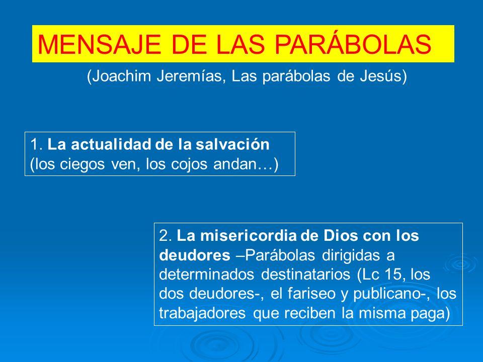 MENSAJE DE LAS PARÁBOLAS (Joachim Jeremías, Las parábolas de Jesús) 1.