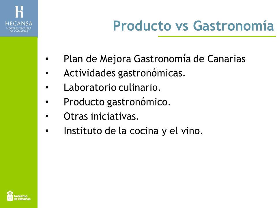 Producto vs Gastronomía Plan de Mejora Gastronomía de Canarias Actividades gastronómicas.