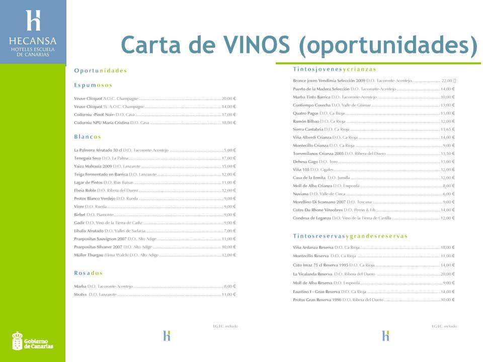Carta de VINOS (oportunidades)
