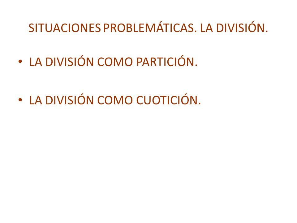 SITUACIONES PROBLEMÁTICAS. LA DIVISIÓN. LA DIVISIÓN COMO PARTICIÓN. LA DIVISIÓN COMO CUOTICIÓN.