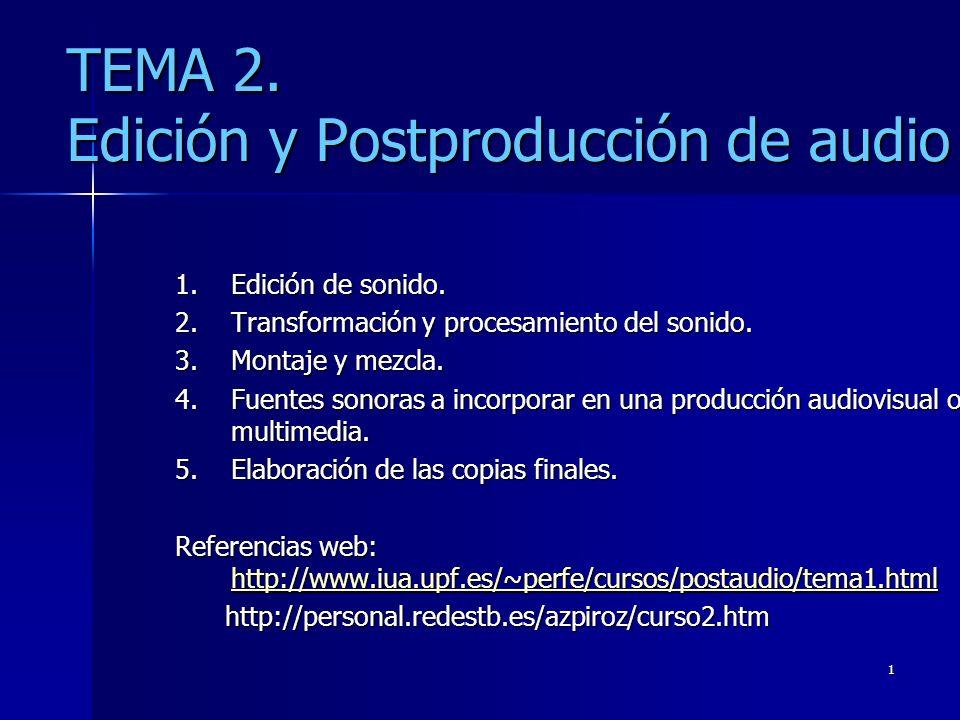 1 TEMA 2. Edición y Postproducción de audio 1.Edición de sonido. 2.Transformación y procesamiento del sonido. 3.Montaje y mezcla. 4.Fuentes sonoras a