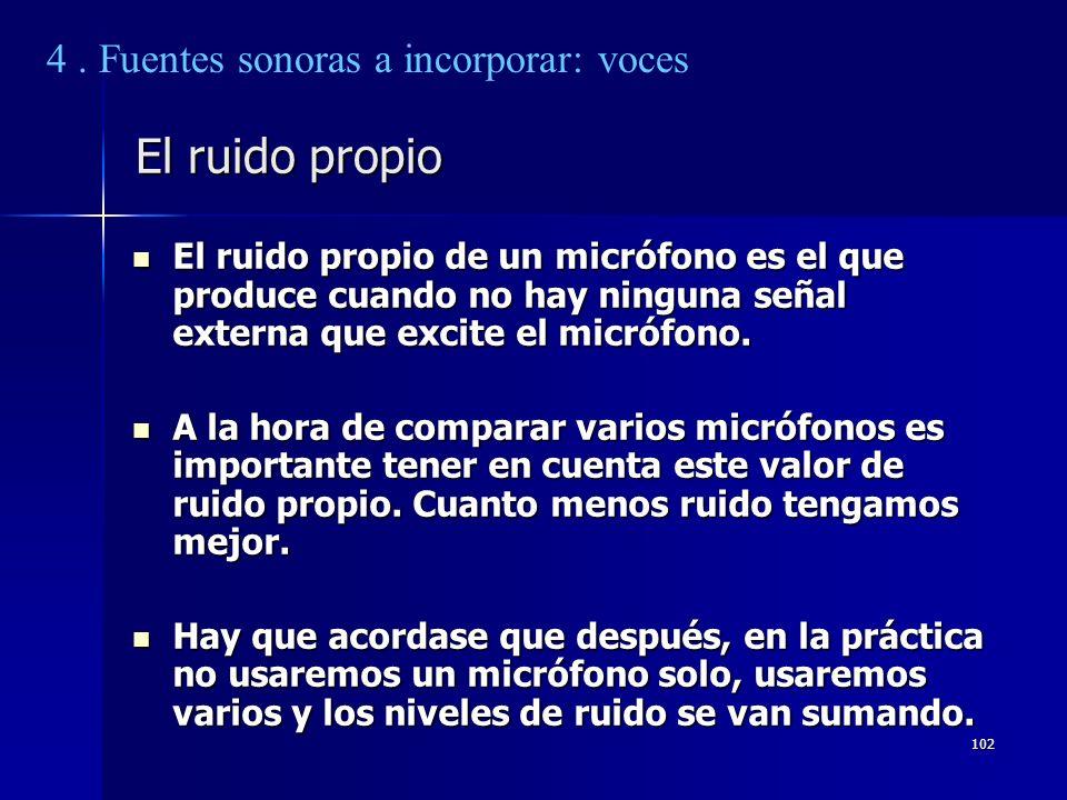 102 El ruido propio El ruido propio de un micrófono es el que produce cuando no hay ninguna señal externa que excite el micrófono. El ruido propio de