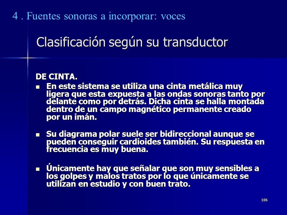 106 Clasificación según su transductor DE CINTA. En este sistema se utiliza una cinta metálica muy ligera que esta expuesta a las ondas sonoras tanto