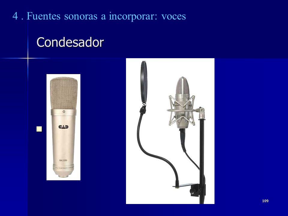 109 Condesador 4. Fuentes sonoras a incorporar: voces