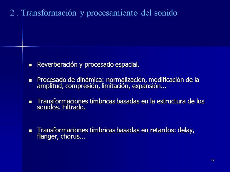 12 Reverberación y procesado espacial. Reverberación y procesado espacial. Procesado de dinámica: normalización, modificación de la amplitud, compresi