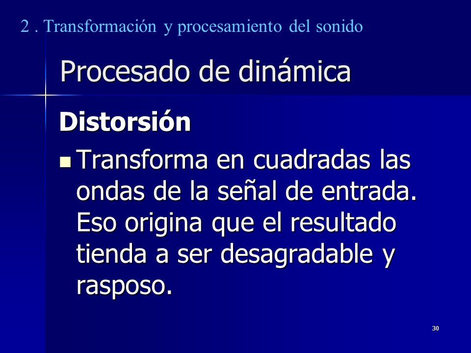 30 Procesado de dinámica Distorsión Transforma en cuadradas las ondas de la señal de entrada. Eso origina que el resultado tienda a ser desagradable y