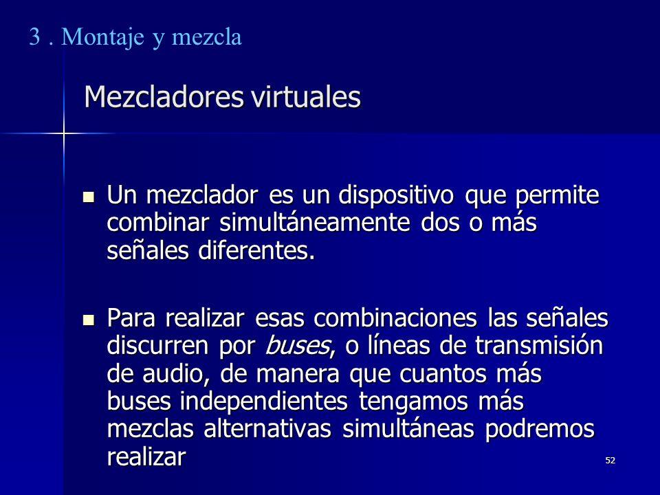 52 Mezcladores virtuales Un mezclador es un dispositivo que permite combinar simultáneamente dos o más señales diferentes. Un mezclador es un disposit
