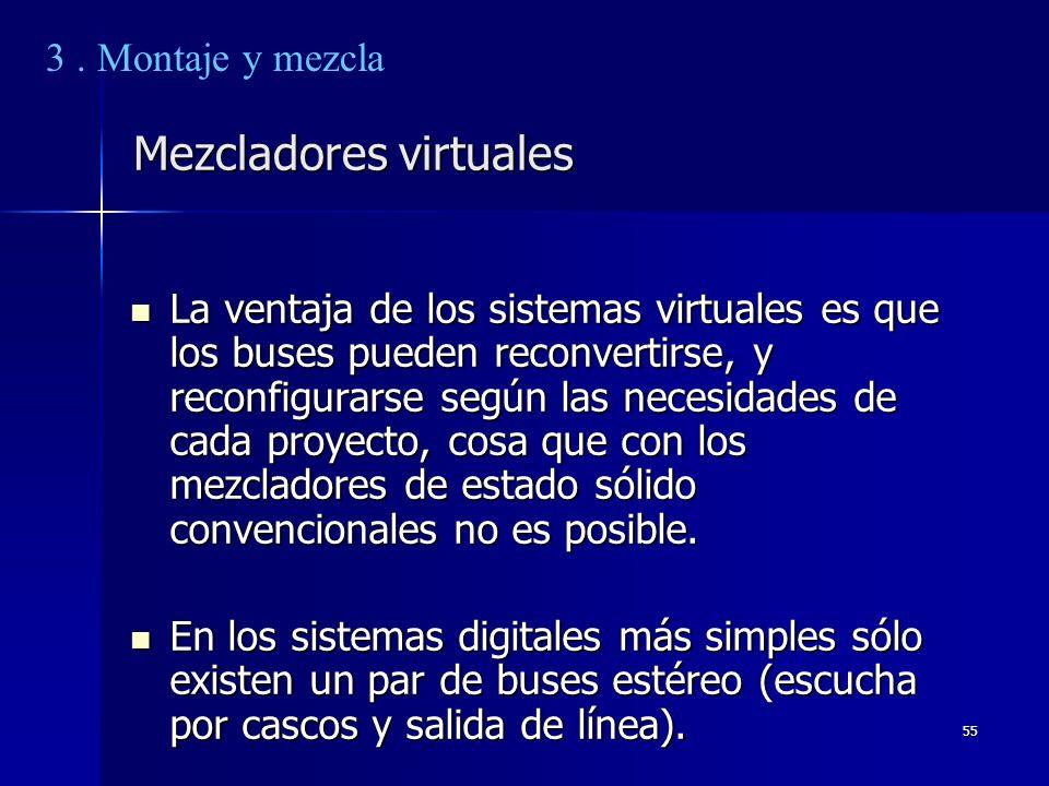 55 Mezcladores virtuales La ventaja de los sistemas virtuales es que los buses pueden reconvertirse, y reconfigurarse según las necesidades de cada pr