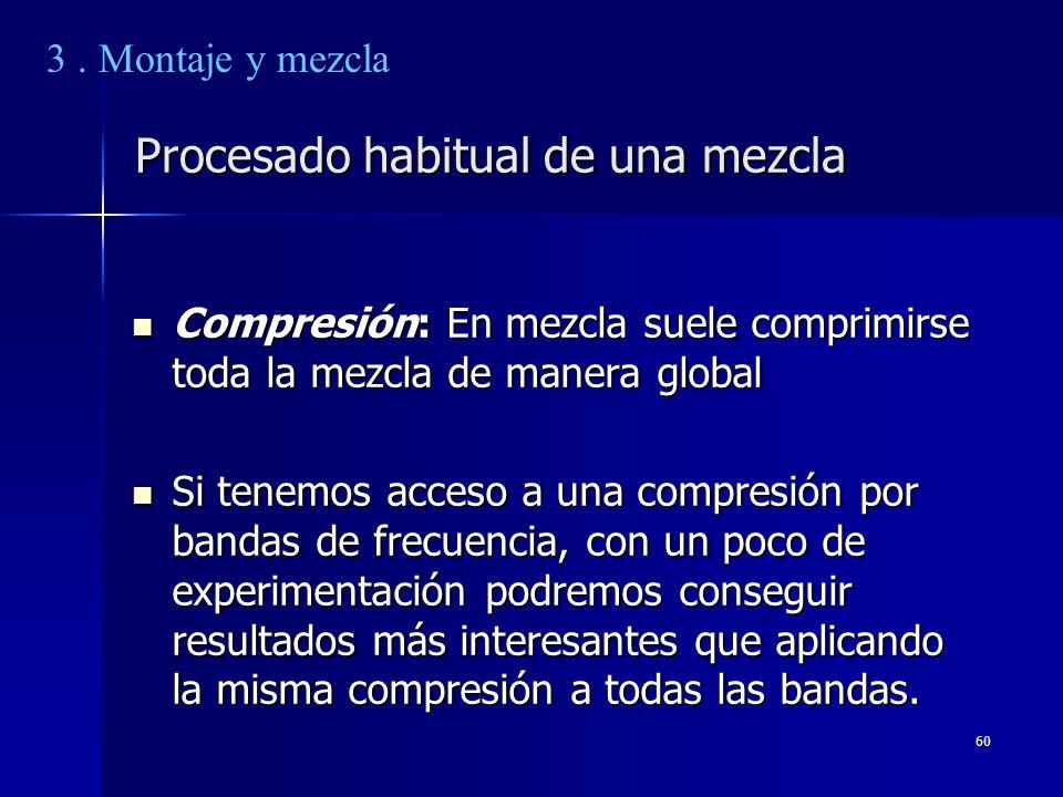 60 Procesado habitual de una mezcla Compresión: En mezcla suele comprimirse toda la mezcla de manera global Compresión: En mezcla suele comprimirse to