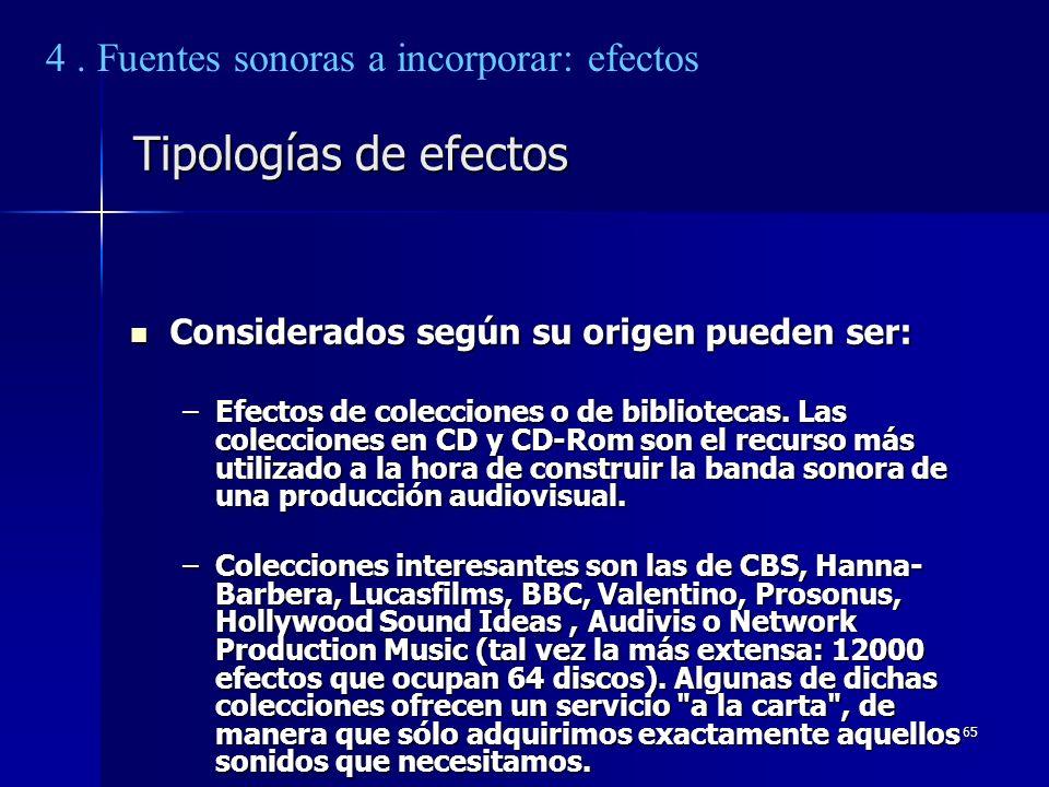 65 Tipologías de efectos Considerados según su origen pueden ser: Considerados según su origen pueden ser: –Efectos de colecciones o de bibliotecas. L