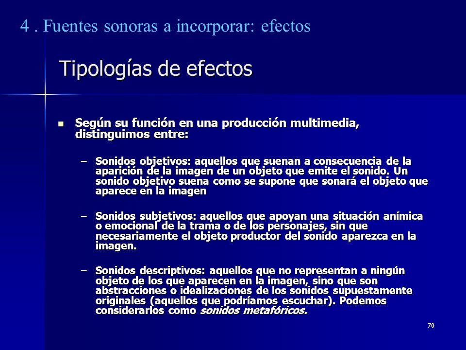 70 Tipologías de efectos Según su función en una producción multimedia, distinguimos entre: Según su función en una producción multimedia, distinguimo