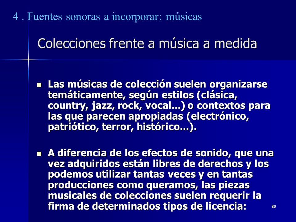 80 Colecciones frente a música a medida Las músicas de colección suelen organizarse temáticamente, según estilos (clásica, country, jazz, rock, vocal.