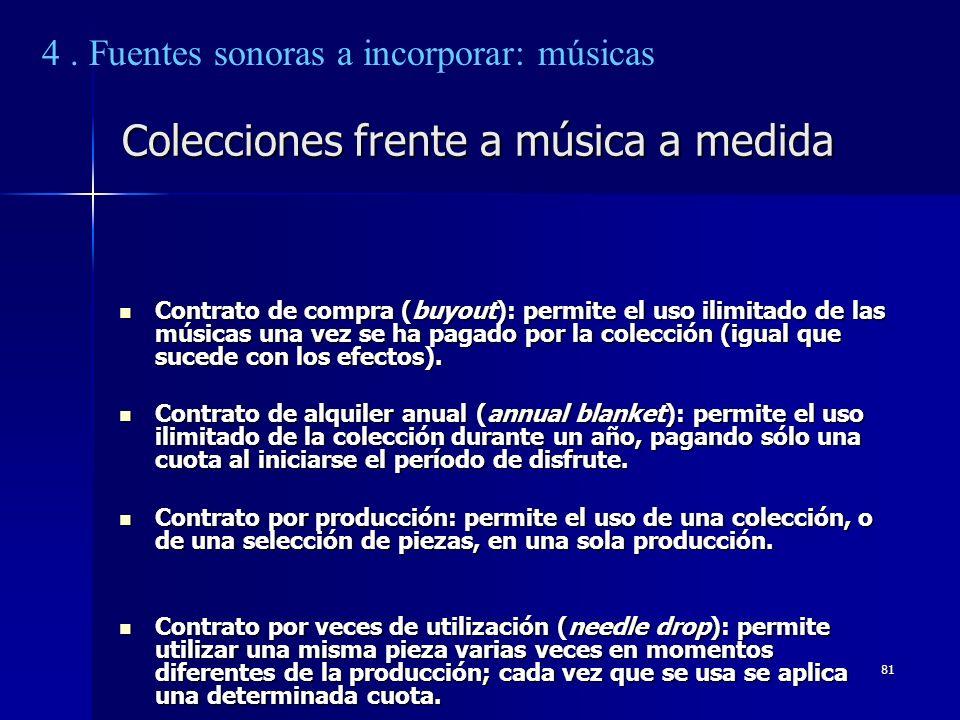 81 Colecciones frente a música a medida Contrato de compra (buyout): permite el uso ilimitado de las músicas una vez se ha pagado por la colección (ig