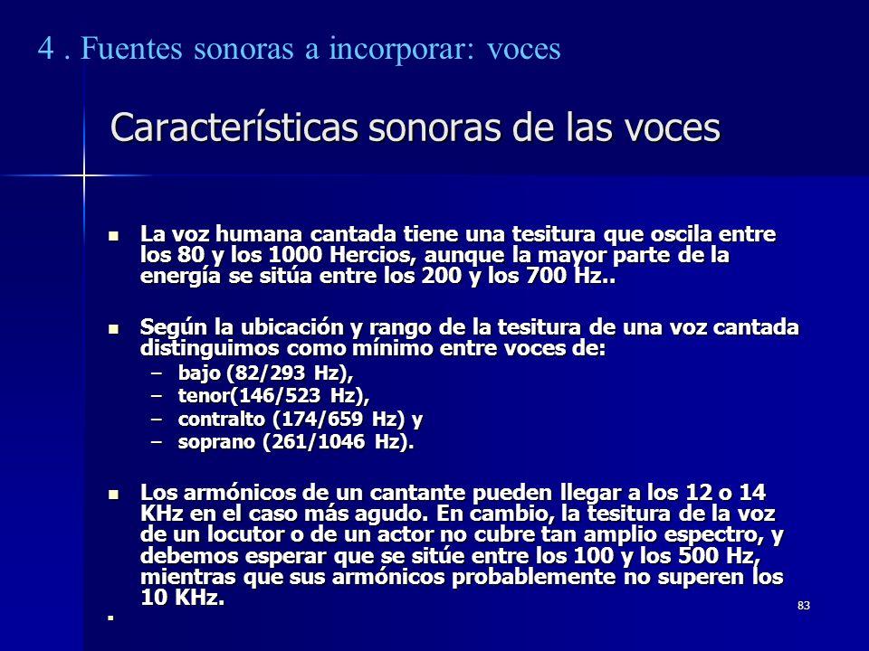 83 Características sonoras de las voces La voz humana cantada tiene una tesitura que oscila entre los 80 y los 1000 Hercios, aunque la mayor parte de