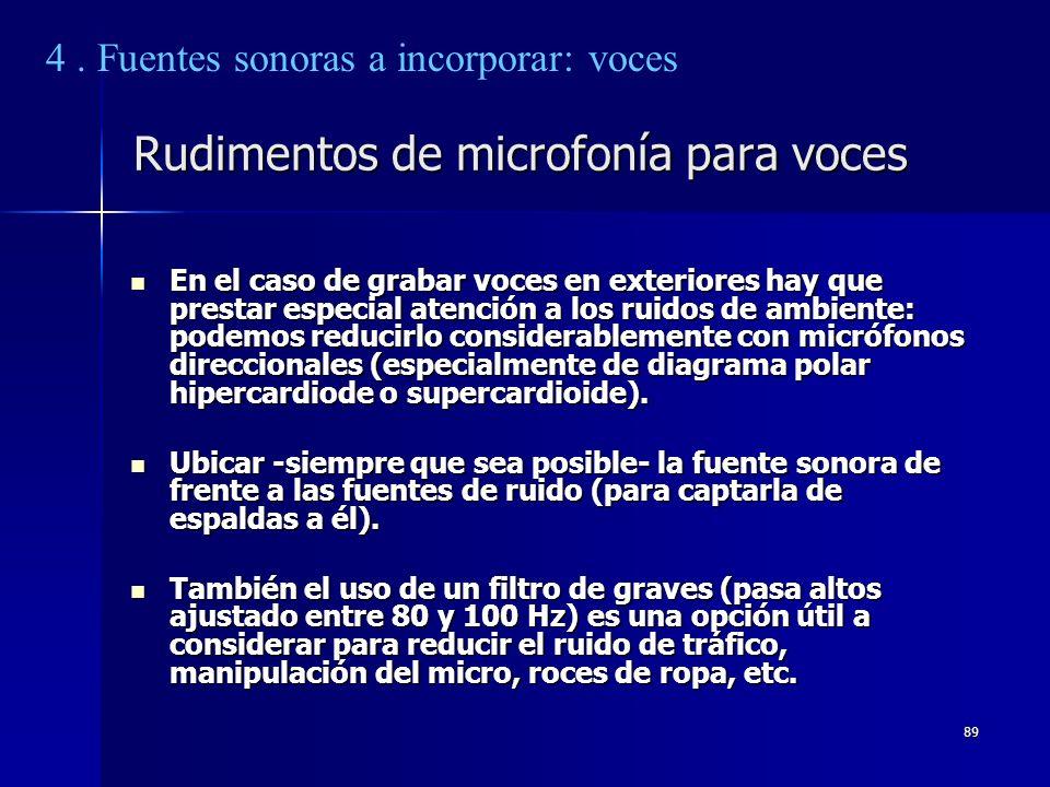 89 Rudimentos de microfonía para voces En el caso de grabar voces en exteriores hay que prestar especial atención a los ruidos de ambiente: podemos re