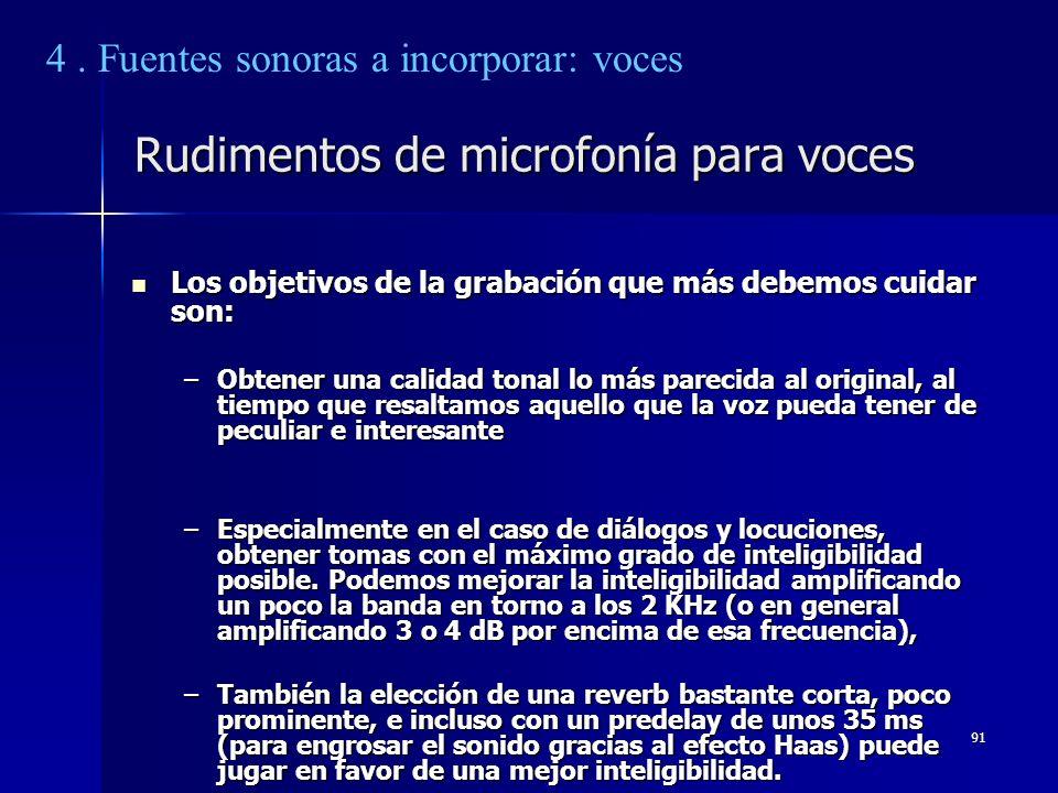 91 Rudimentos de microfonía para voces Los objetivos de la grabación que más debemos cuidar son: Los objetivos de la grabación que más debemos cuidar